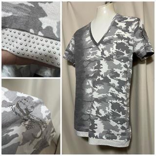 SCHORL ショール  迷彩 スタッズ Tシャツ カットソー 46 M 白