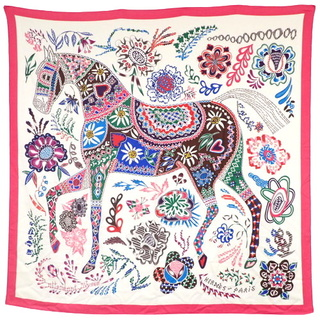 Hermes - エルメス スカーフ カレ140 ピンク 白 マルチカラー 40802000713