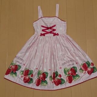 Shirley Temple - シャーリーテンプル ジャンパースカート イチゴ ピンク色