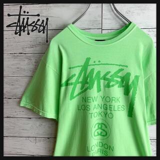 STUSSY - 【人気のミントカラー!】ステューシー ワールドツアー ビッグロゴ入り半袖Tシャツ