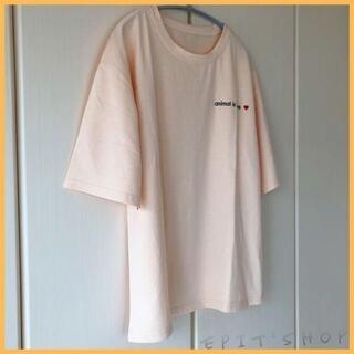 【新品】レディース トップス ワンポイントTシャツ 半袖 Lサイズ ライトピンク