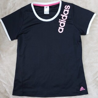 adidas - adidas Tシャツ 半袖  黒 ピンク