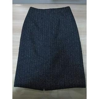 ナチュラルビューティーベーシック(NATURAL BEAUTY BASIC)のスカート ウール wool ネイビー ストライプ(ひざ丈スカート)