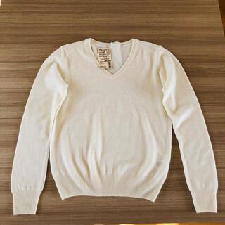 ムジルシリョウヒン(MUJI (無印良品))の無印良品 カシミヤ Vネックセーター オフホワイト S  新品タグ付き(ニット/セーター)