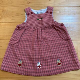 familiar - ファミリア ワンピース 赤 千鳥格子 90 フォーマル ジャンパースカート