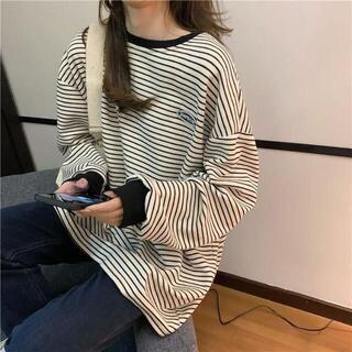 【新品】オーバールーズ ストライプ ロングシャツ 白 黒