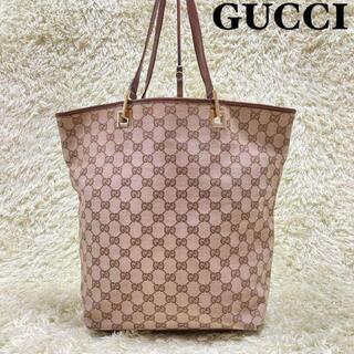 Gucci - GUCCI トートバッグ ハンドバッグ GG柄 大容量 キャンバス ブラウン