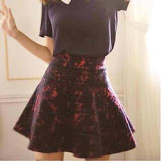 リランドチュール(Rirandture)の美品♡紗栄子Rirandture ニードルパンチフレアスカート 赤チェック(ミニスカート)