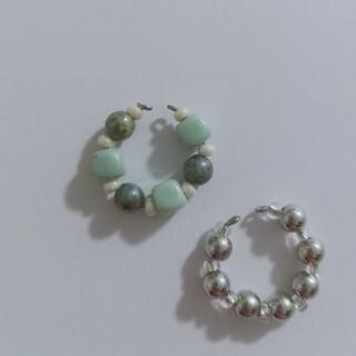 hand made ear cuff green & silver 💚🤍