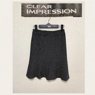 クリアインプレッション(CLEAR IMPRESSION)のクリアインプレッション 膝丈スカート 黒ドット S(ひざ丈スカート)