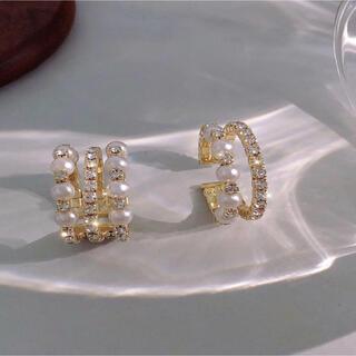 3連リング パール キラキラ フリーサイズ リング 指輪