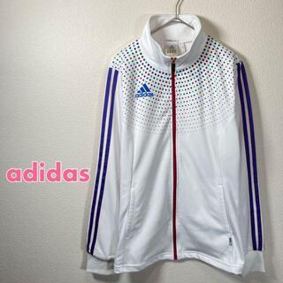 adidas - adidas トラックジャケット ジャージ レディース Lサイズ 白 ドット柄