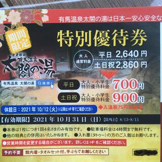 有馬温泉 太閤の湯 特別優待券(その他)
