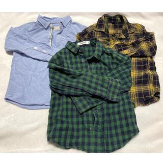 ザラキッズ(ZARA KIDS)のZARAKids SLAPSLIP UNIQLO 無地&チェックシャツ 110(ブラウス)