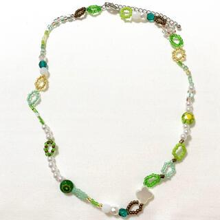 handmade ハンドメイドグリーン系パールミルフィオリビーズネックレス(ネックレス)