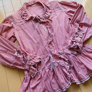 PINK HOUSE - ピンクハウス レッドギンガムチェックオーバーブラウス リボン刺繍
