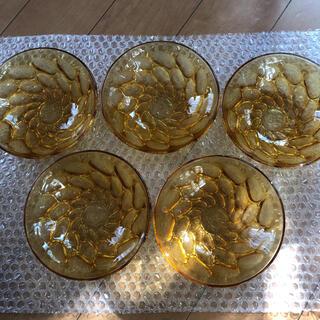 東洋佐々木ガラス - 昭和レトロ 小皿 アンバー ガラス 飴色 5枚セット