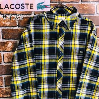 ラコステ(LACOSTE)の【希少】ラコステLACOSTA S相当ワンポイント刺繍 チェックシャツ イエロー(シャツ)