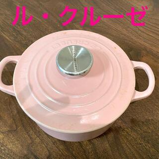 ルクルーゼ(LE CREUSET)のルクルーゼ ココットロンド ホーロー鍋 ピンク 16(鍋/フライパン)