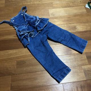 着画あり♡韓国子供服bee♡リボンフリルサロペット80.90(パンツ/スパッツ)