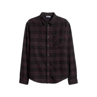 エイチアンドエム(H&M)のH&M DIVIDED/チェックネルシャツ S ブラック×ダークパープル(シャツ)