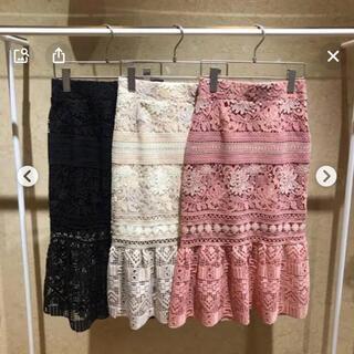 スナイデル(snidel)のsnidel  ピンクレース マーメイドスカート XS  美品(ひざ丈スカート)