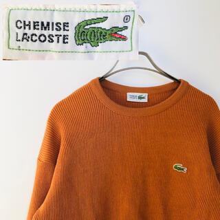 ラコステ(LACOSTE)の【レア】シュミーズラコステ 90s ワニ刺繍 ニット オレンジ Mサイズ(ニット/セーター)