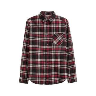 エイチアンドエム(H&M)のH&M DIVIDED/チェックネルシャツ S ブラック×バーガンディー(シャツ)