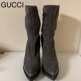 グッチ(Gucci)のGUCCI 上品レザー グレーブーツ 38.5(ブーツ)