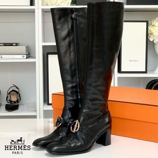 エルメス(Hermes)の2536 エルメス レザー ロングブーツ 黒(ブーツ)