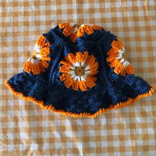 ロキエ(Lochie)のハンドメイド グラニースクエアハット ブルー×オレンジ(帽子)