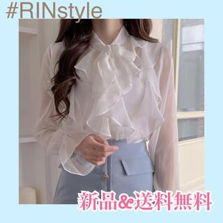 【SALE】韓国ファッション リボンブラウス ビッグリボン シフォン オルチャン