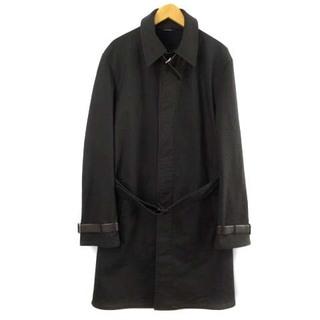 Hermes - エルメス ステンカラーコート ロングコート レザーベルト 46 ブラック 黒