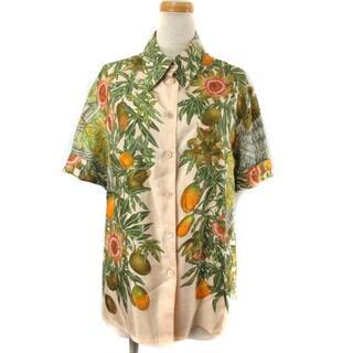 エルメス(Hermes)のエルメス シルク100% PASSIFLORES シャツ ブラウス 半袖 42(シャツ/ブラウス(半袖/袖なし))