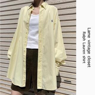 Ralph Lauren - 90s 古着 ラルフローレン 刺繍ロゴ シャツ レモンイエロー ビンテージ