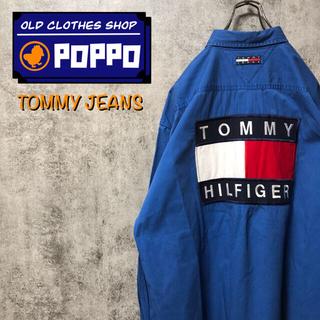 TOMMY HILFIGER - トミージーンズ☆バックビッグフラッグ刺繍ロゴチノシャツ 90s