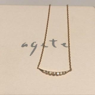 agete - agete アガット ルナ  K18ダイヤネックレス  プレシャスライン ☽