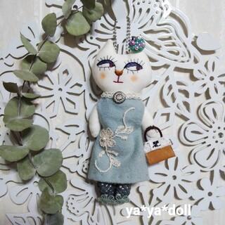 猫人形 チャー厶 ミントグリーン ya*ya*doll アクセサリー インテリア(人形)