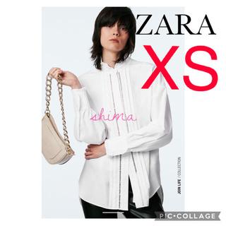 ZARA - ZARA レーストリムポプリンシャツ フリルシャツ ザラ ポプリンブラウス