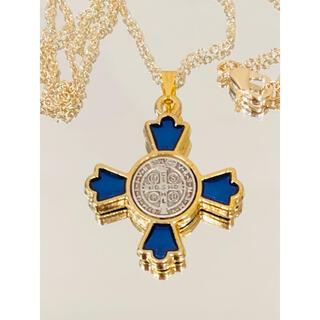 聖ベネディクト十字架 ネックレス ●十字架ゴールドブルー reversible(ネックレス)