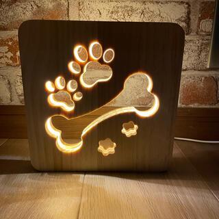 USBコンセント付 いぬ好きの為の肉球3D木製LEDランプ 間接照明 テーブル
