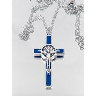 聖ベネディクト十字架 ネックレス ●十字架シルバー×ブルー(ネックレス)