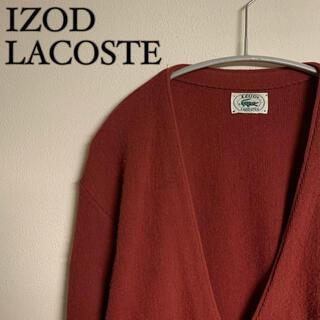 ラコステ(LACOSTE)の【希少】IZOD LACOSTE ラコステ カーディガン ロゴ刺繍 赤(カーディガン)
