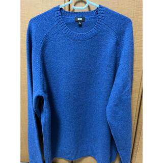 UNIQLO - 【超美品】ユニクロ プレミアムラムクルーネックセーター ブルー 青 XL