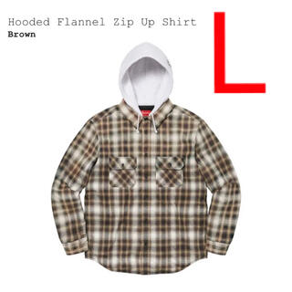 Supreme - Hooded Flannel Zip Up Shirt Brown L