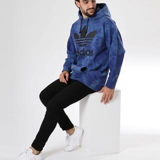 adidas - タイダイ柄 パーカー プルオーバー フーディー 青 ブルー Lサイズ