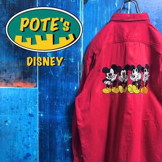 Disney - 【ディズニー】ミッキービッグキャラ刺繍チノワークシャツ 90s
