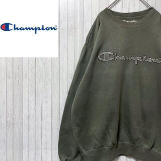 チャンピオン(Champion)のチャンピオン トレーナー スウェット ビッグロゴ モスグリーン 刺繍ロゴ L(スウェット)