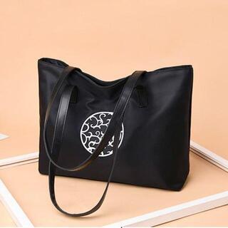 【ブラック】アラベスク柄 シンプルな大容量トートバッグ