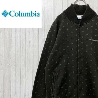 コロンビア(Columbia)のコロンビア スウェット トレーナー 総柄 スナップボタン カーキ 刺繍ロゴ S(スウェット)
